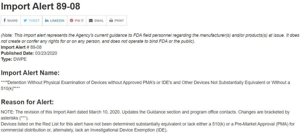 FDA import list